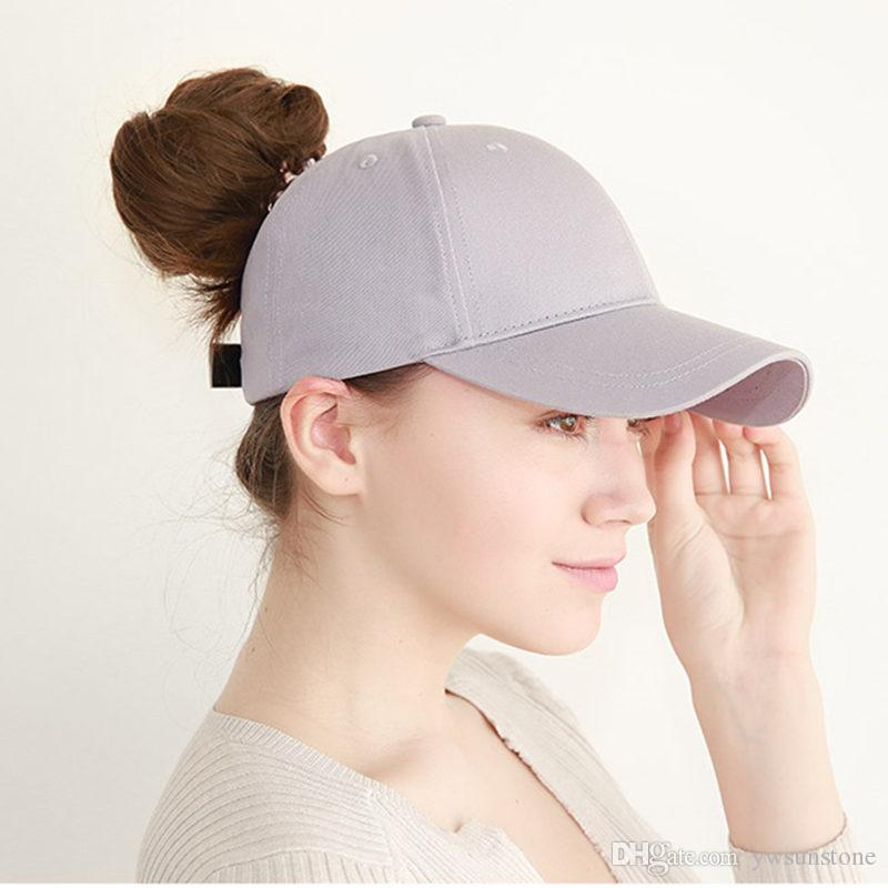 b3bd7cbc86a 2018 New Arrivals Cotton Ponytail Baseball Cap Women Messy Bun ...