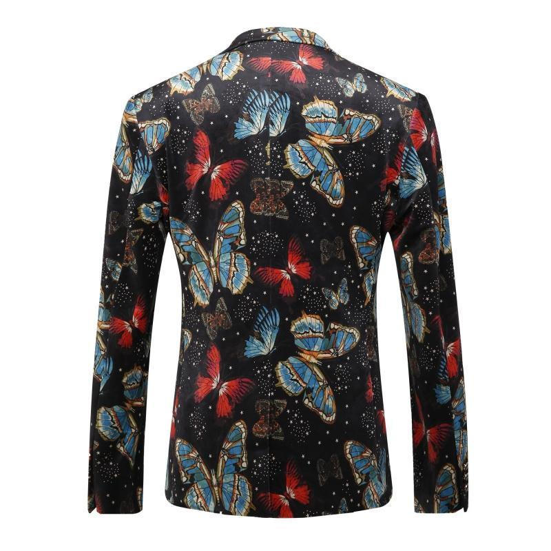 Plyesxale New Arrival 2018 Men Blazers Print Blazer For Men Butterfly Pattern British Style Suit Brand Wedding Blazers Q203