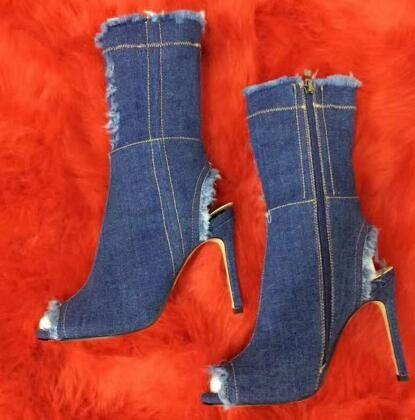 2018 Stivali di jeans Tacchi sottili Sandalo donna Stivali Peep Toe Sandali estivi Mujer Summer Caviglia Botas taglia stivaletti