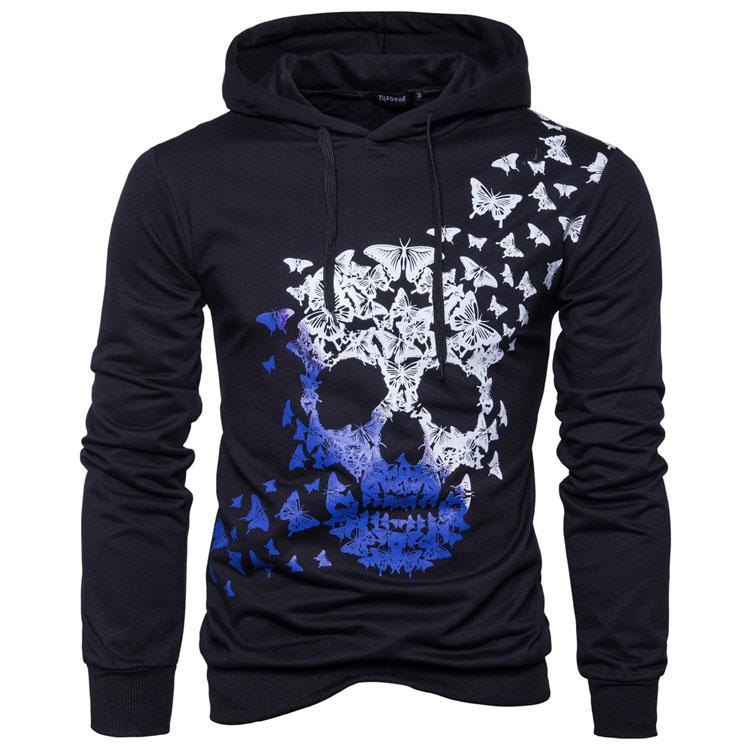 2018 Hoodie Casual Skull Head Print Hoodies Men Fashion Tracksuit Male Sweatshirt Hoody Mens Purpose Tour