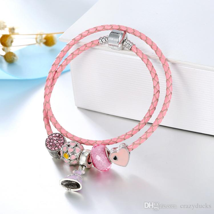 Genuine Leather Cord Crystal Faceted Butterfly Glass Beads Lovely Charm Bracelets& Bangles with Dress Pendant Girl jewelry Gift