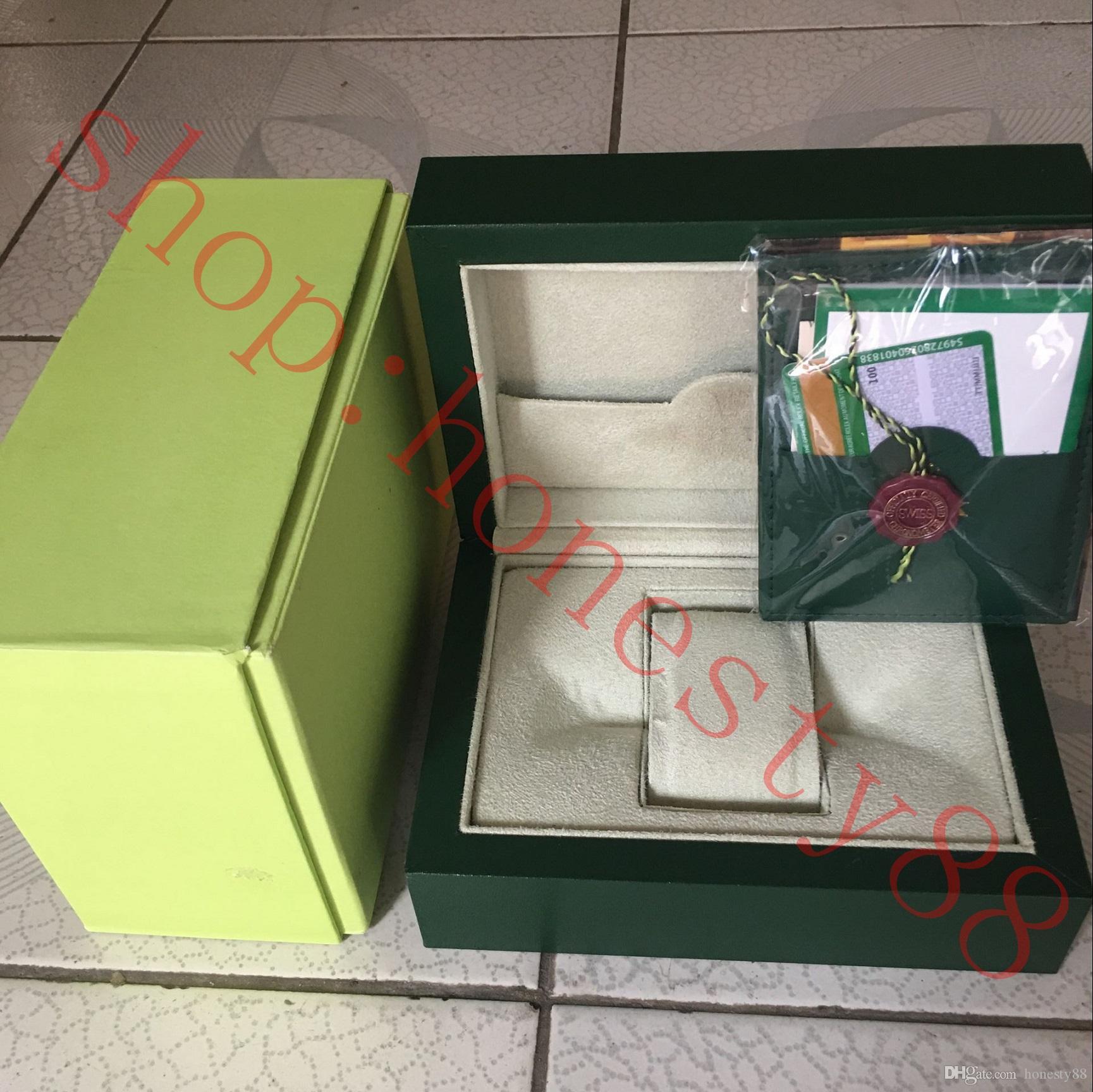 f8ec60737fc Compre Frete Grátis Top Relógio De Luxo Verde Caixa Original Papers Relógios  De Presente Caixas De Saco De Couro Cartão De 0.8 KG Para Rolex Watch Box  De ...