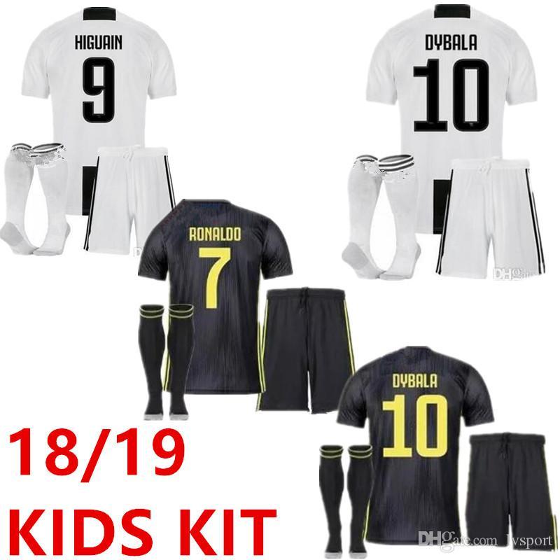 2019 Juventus Home Soccer Jersey Kids Kit 18 19 7 RONALDO DYBALA ... dfbe2ffe6