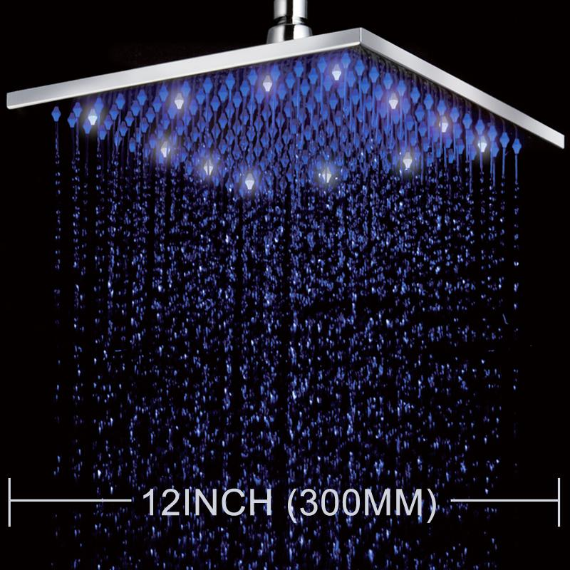 2019 Superfaucet Led Color Changing 12 Square Rain Shower Head Wall