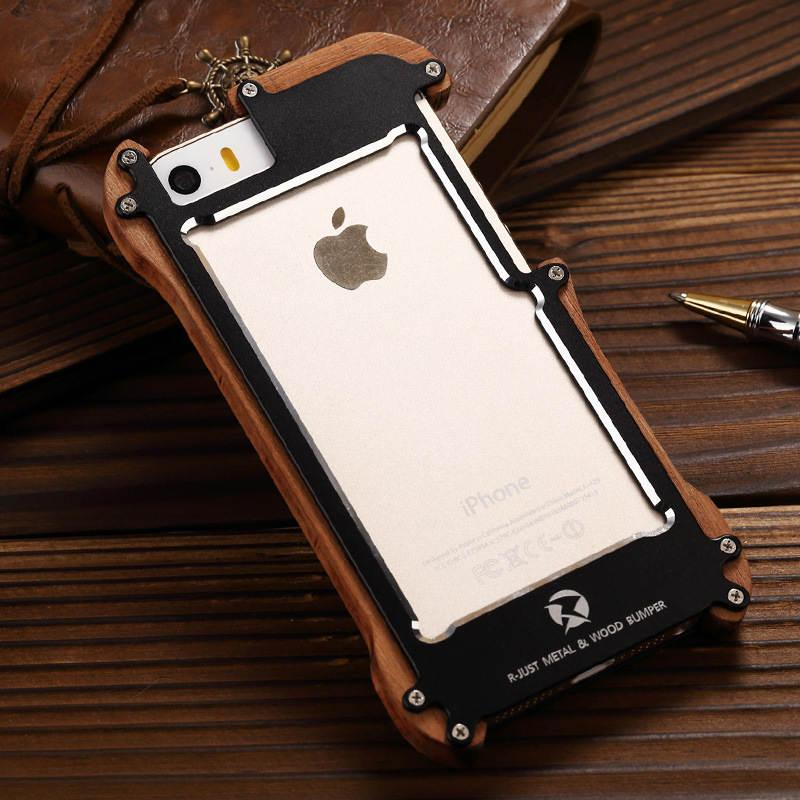new style ac3f2 61f6c R -Just Shockproof For Iphone 5s Aluminum Metal Natural Wood Frame Bumper  Case For Iphone 5 5s Se Outdoor Anti -Knock Phone Cover