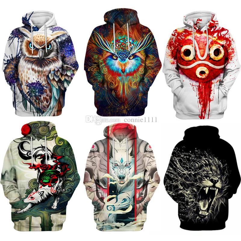 2019 Mens Hoodie Hoodies Sweater Owl Fox 3d Pullover Lion Sweatshirt Men  Women Tops New Streetwear Casual Hip Hop Pockets Pullovers Jumpers S 5XL  From ... 3a9aeb4a6