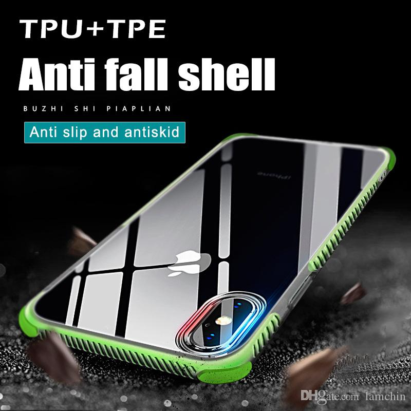 Shockproof Transparent Case For iPhone 8 Plus iPhone x Soft Gel TPU Phone Case Clear Back Cover for iphone 7 with package
