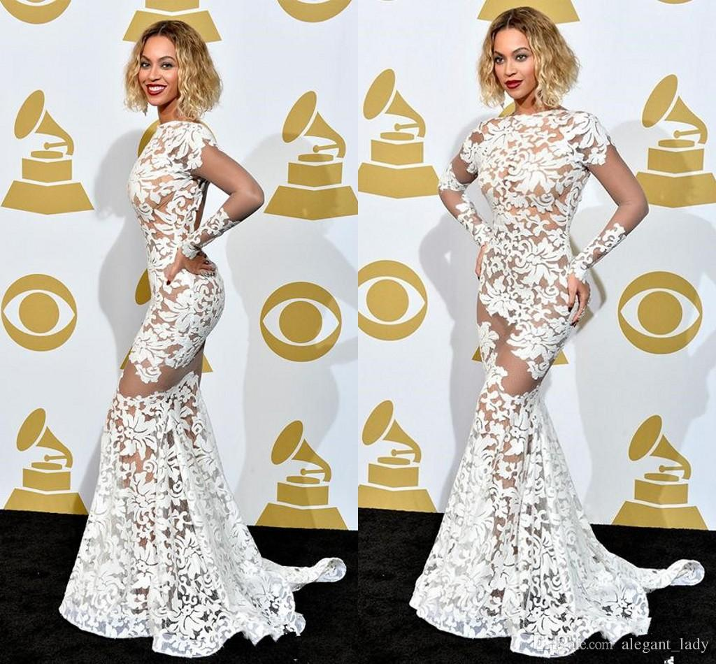 Beyonce In Lace Applique Michael Costello Grammy Awards Red Carpet ...