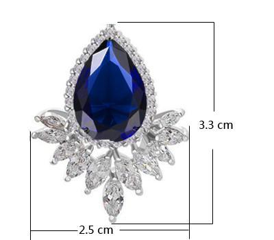 Pera Style Européen Marquise Cubique Zircone Pierre Pavée Cadre Femmes Party Big Stud Bleu Boucles D'oreilles Avec Or Blanc Couleur E245