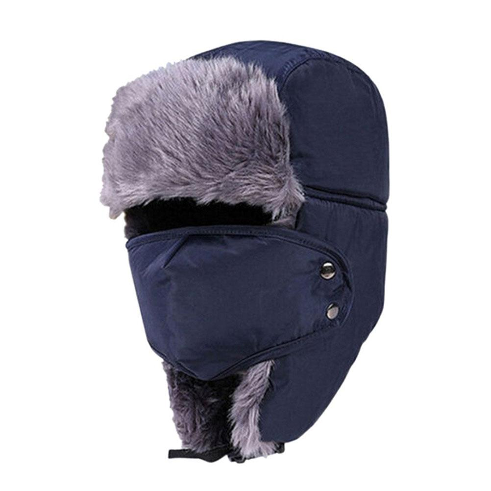 2019 Men Women Winter Ushanka Trapper Earflap Ski Hats With Mask Cap Hood  Navy Blue From Bingquanwat ae7117ceaf7
