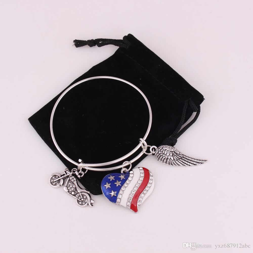 المشمش فو للدراجات النارية شكل قلب العلم الأمريكي الجناح سحر للتعديل النحاس سلك الإسورة قلادة سوار الأزياء والمجوهرات هدية