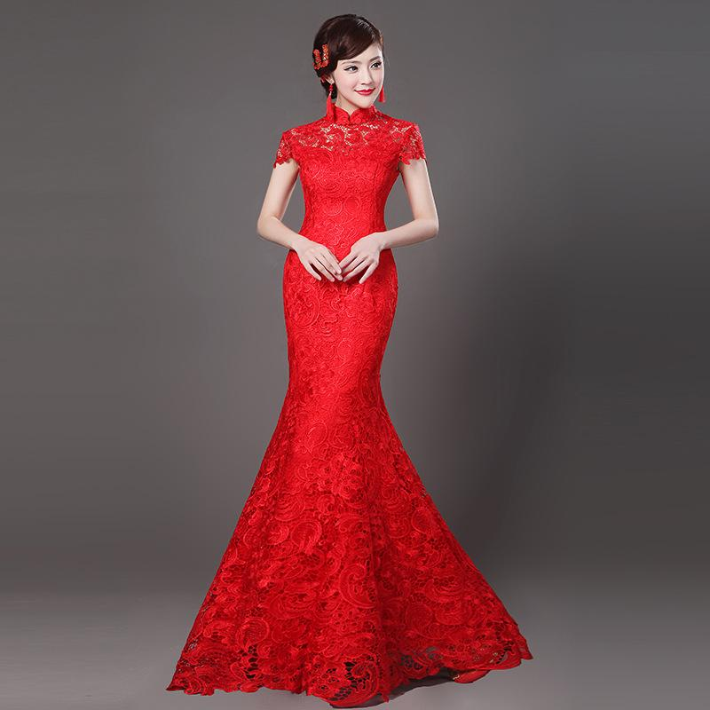 497668831 2019 Mandarin Collar Sexy Lace Flower Lady Cheongsam NEW Red Chinese  Wedding Party Bride Qipao Full Length Elegant Mermaid Dress From Beatricl,  ...