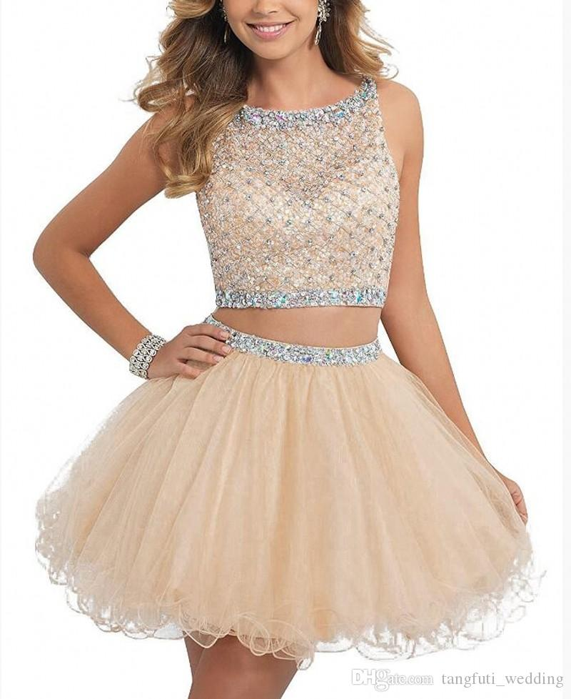 Two Pieces Dres Homecoming Dresses 2018 Short Beaded Tulle Prom