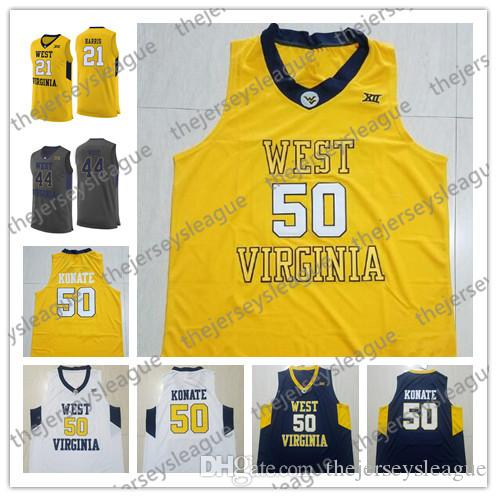 27d458b333e 2019 West Virginia Mountaineers  21 Wesley Harris 44 Jerry West 50 Sagaba  Konate Gray Navy Yellow Black Stitched NCAA College Basketball Jersey From  ...