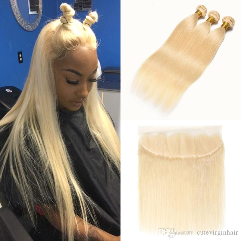 Brazilian Straight #613 Blonde Bundles and Lace Frontal 10-24 Inch 9A Blonde Hair Vendor Peruvian Human Hair Weave 613 Blonde Extensions