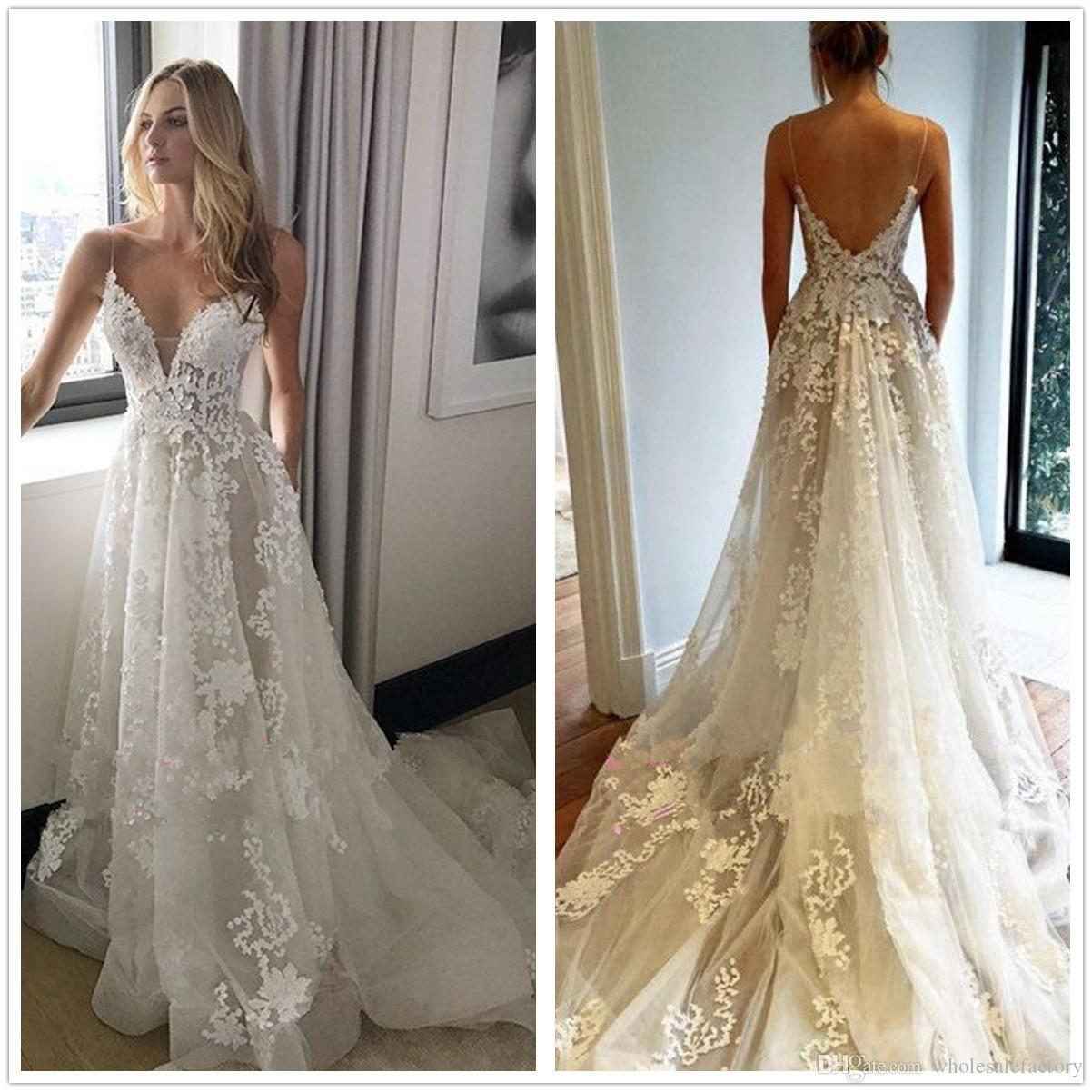 Discount 2018 Spaghetti Straps Lace A Line Wedding Dresses Sleeveless Tulle Applique Bohemian Summer Beach Bridal With Pockets Ball: Straps A Line Wedding Dress At Reisefeber.org