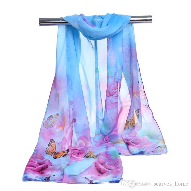 fd731226 Nueva llegada Seda bufanda de gasa Mariposa estampado floral de mujeres  musulmanes de primavera y otoño bufanda patrones mantón del abrigo abrigo  ...