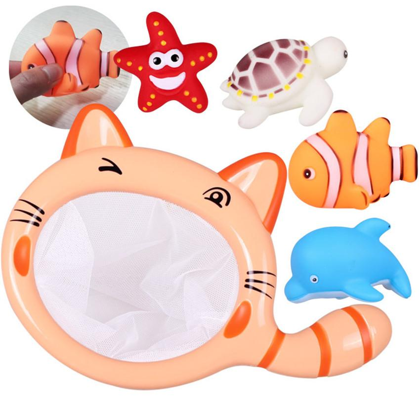 5 Pcs/set Water Spraying Tool Fishing Bath Toy Sea Anime Tortoise Starfish Dolphins Clown Fish Summer Sounding Toys for Baby