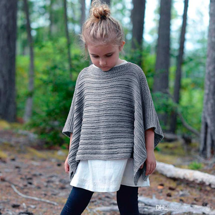 Hot Girl Spring Autumn Winter Knitting Sweater Cape Cloak Pure Color Kids Scarf Coat Children's Clothing Dress