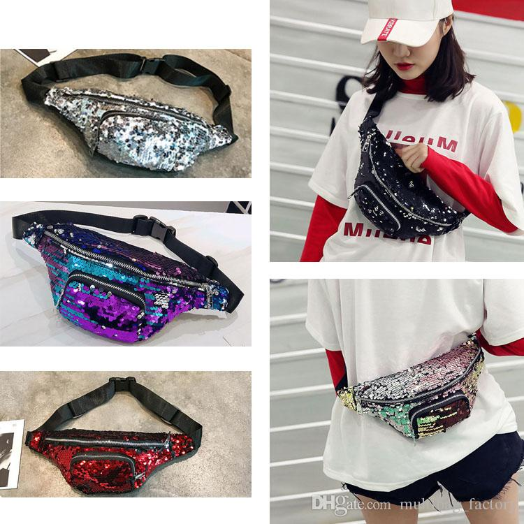 5483fb2d3663 Women Mermaid Sequins Fanny Pack PU Leather Bags Design Fashion Travel  Chest Waist Bags Girls Ladies Cross Body Belt Bag Men Pouch Wholesale