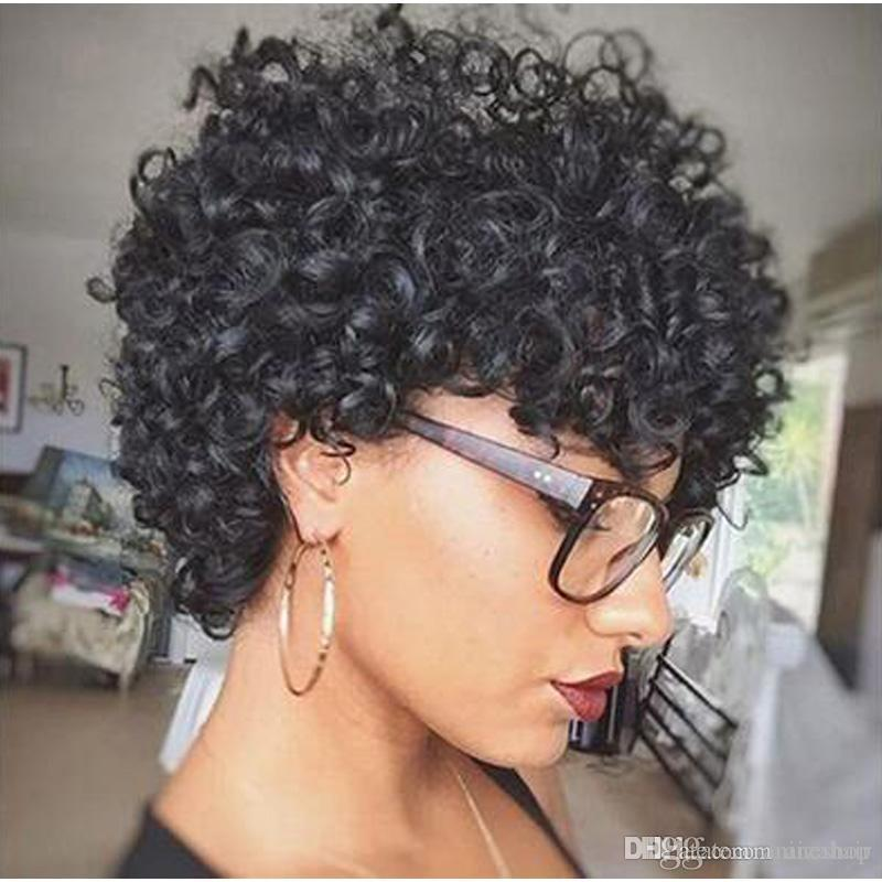 Afro Kinky Curly 8 Inch Hair Wig Synthetic Short Black Wigs For