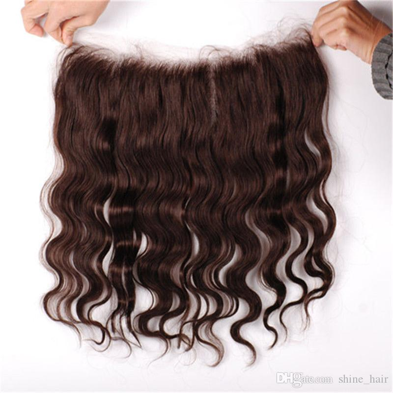 Chocolate Brown 13x4 Lace Frontal Closure with Weaves 4 Bundles Body Wave Vrgin Brazilian #4 Dark Brown Human Hair Bundle Deals with Frontal
