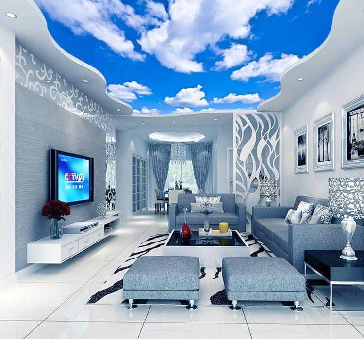푸른 하늘 흰 구름 벽지 벽화 거실 침실 지붕 천장 벽지 천장 큰 별이 빛나는 하늘 배경 화면을 3D