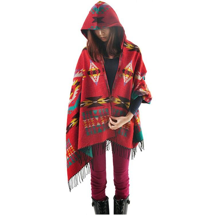Winter Ethnic Scarf Blanket Pashmina Ponchos and Capes Infinity Scarf Girls Cloak Cashmere Hat Shawl Knitted Hooded Scarf