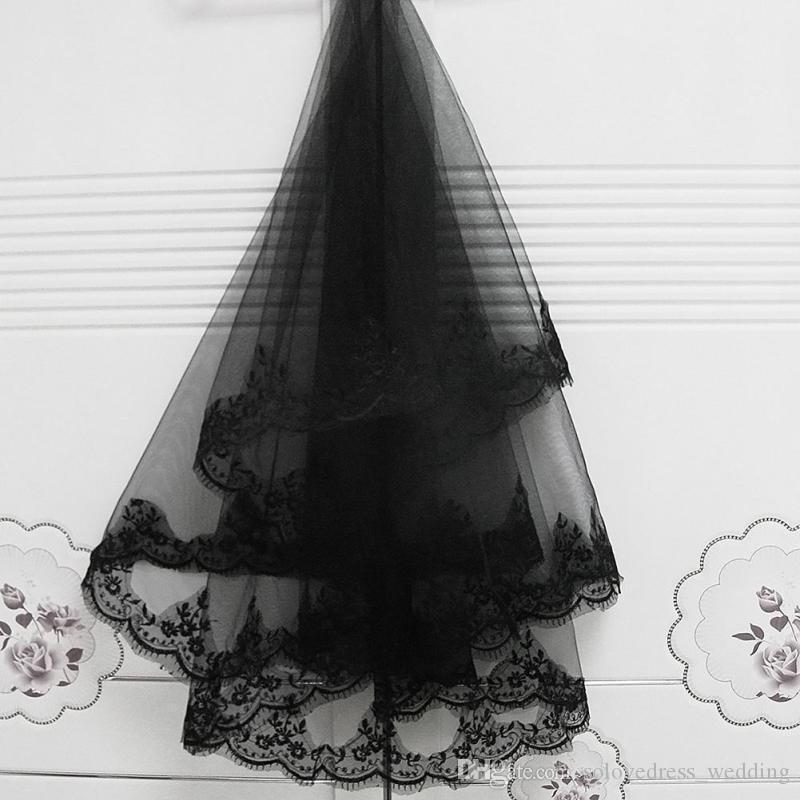 Elegant Wholesale New Style 2 T Women Bride Bridal Black Wedding Head Hair Lace Party Veil With Comb