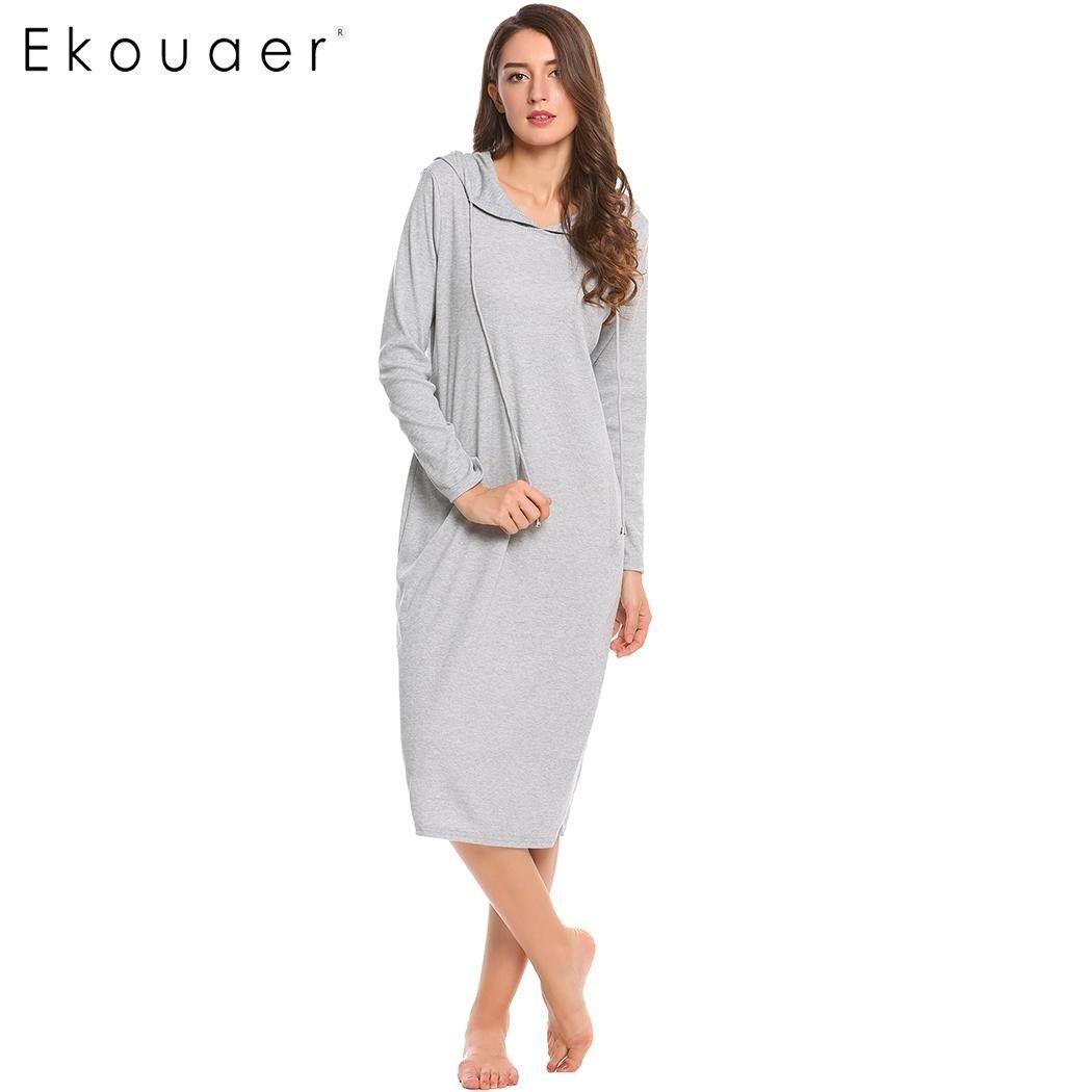 Ekouaer Casual Nightgown Women Long Sleeve Sleepwear Hooded Long Nightdress  Autumn Sleepdress Loose Solid Sleepwear Home Clothes Casual Nightgown  Nightgowns ... 676ff42dd
