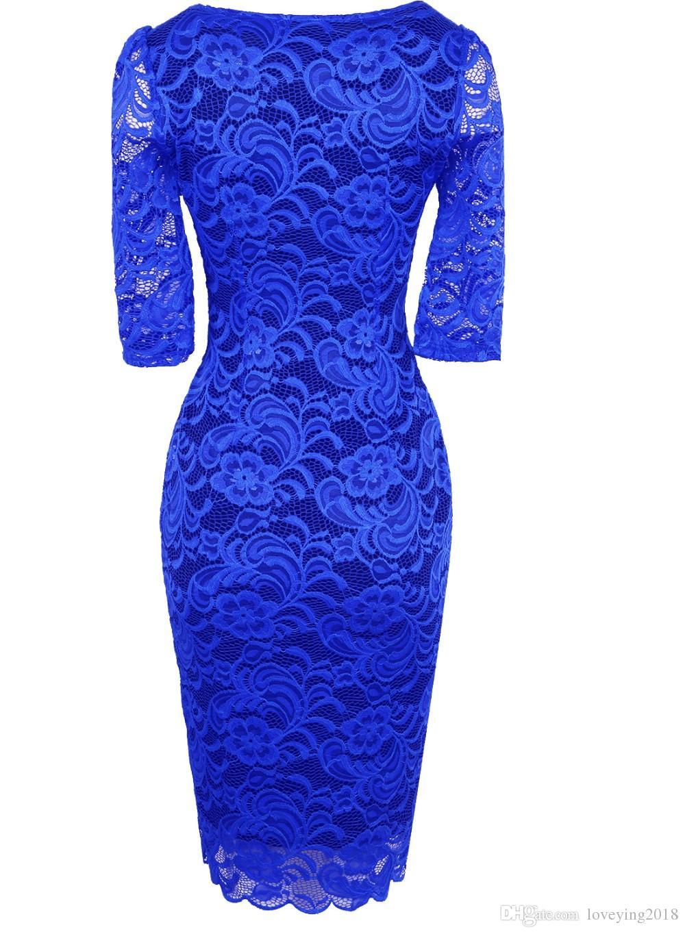 Loveying Women Elegant Pencil Dress Half Sleeves Vestidos Royal Blue Wedding Office Business Cocktail Bodycon Retro Black Lace Dresses 2018