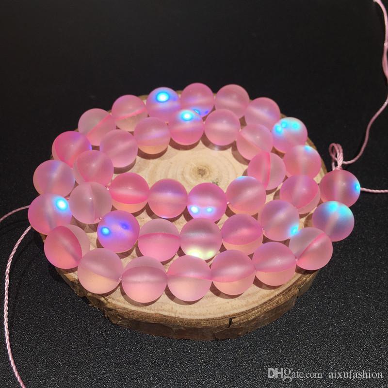 8 mm mate polaco esmerilado multicolor piedra de luna perlas sueltas de cristal de cuarzo redondo destello piedra diy perlas filamento 15
