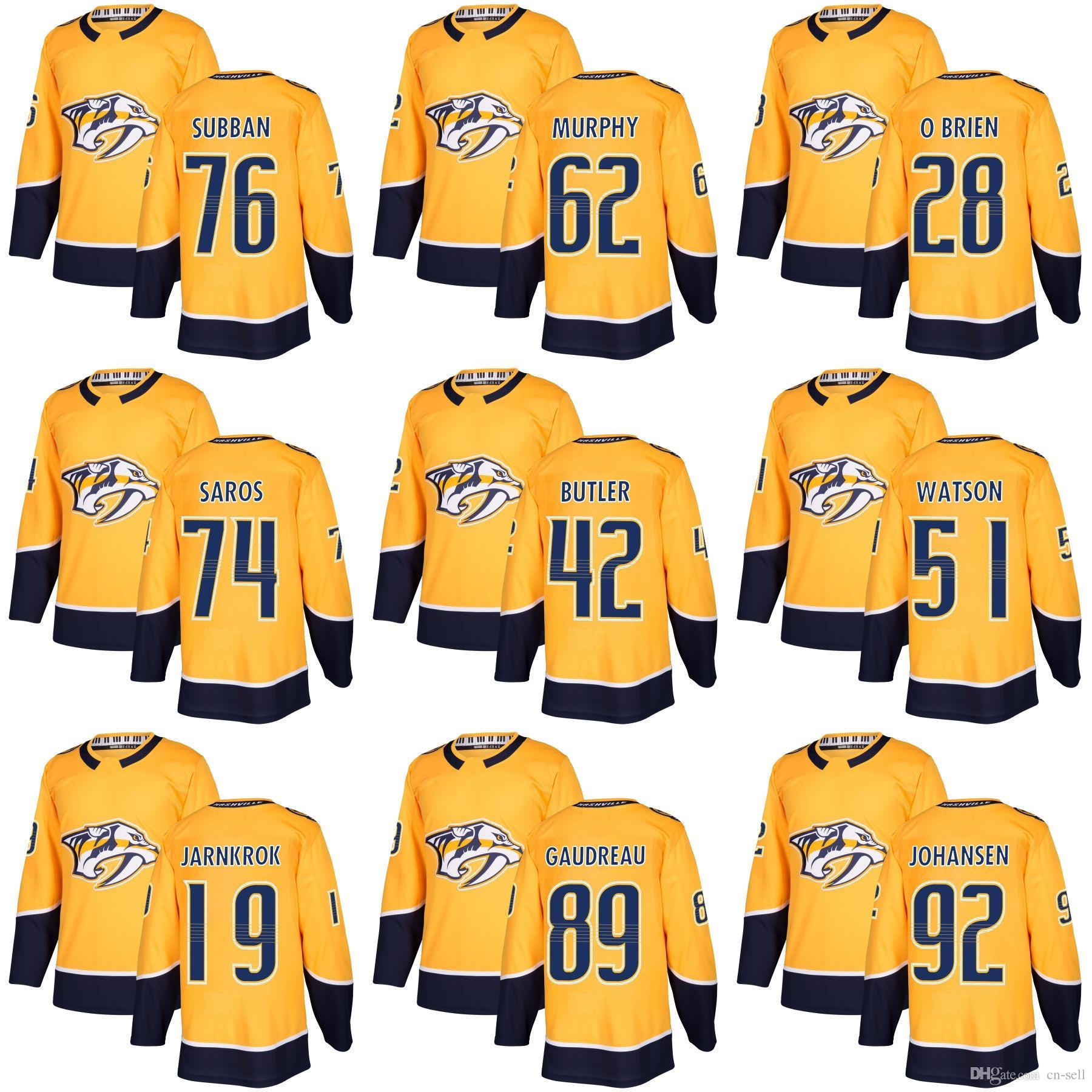 Filip Forsberg Jersey  9 Nashville Predators Home Gold P.K. Subban 62  Murphy 28 Andrew O Brien Gaudreau 92 Johansen 74 Saros Hockey Jerseys UK  2019 From Cn ... 5dfc59cbb