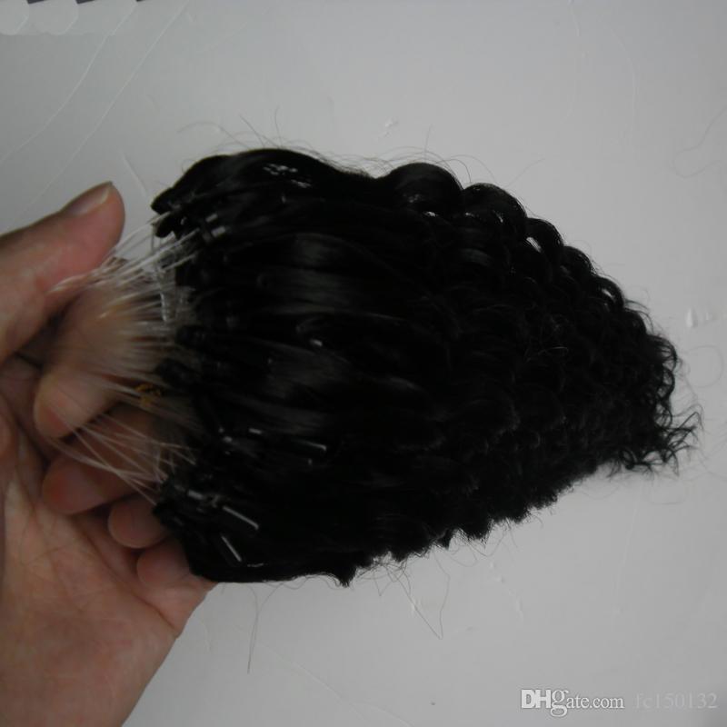 1 جرام لكل ستراند 100 جرام لكل حزمة مايكرو حلقة حلقة الشعر التمديد اللون # 1 يميل ريمي شعرة الإنسان عميق مجعد الروابط ملحقات