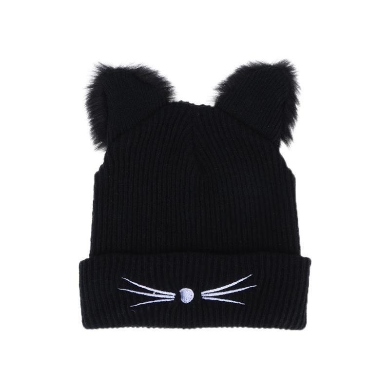 Warm Black Knitted Winter Hat For Women Cute Cat Ears Hat Skullies Hats  Pompom Caps Female Bonnet Femme Woolen Braided Fur Beanie Boo Trucker Hats  From ... ee83257d226