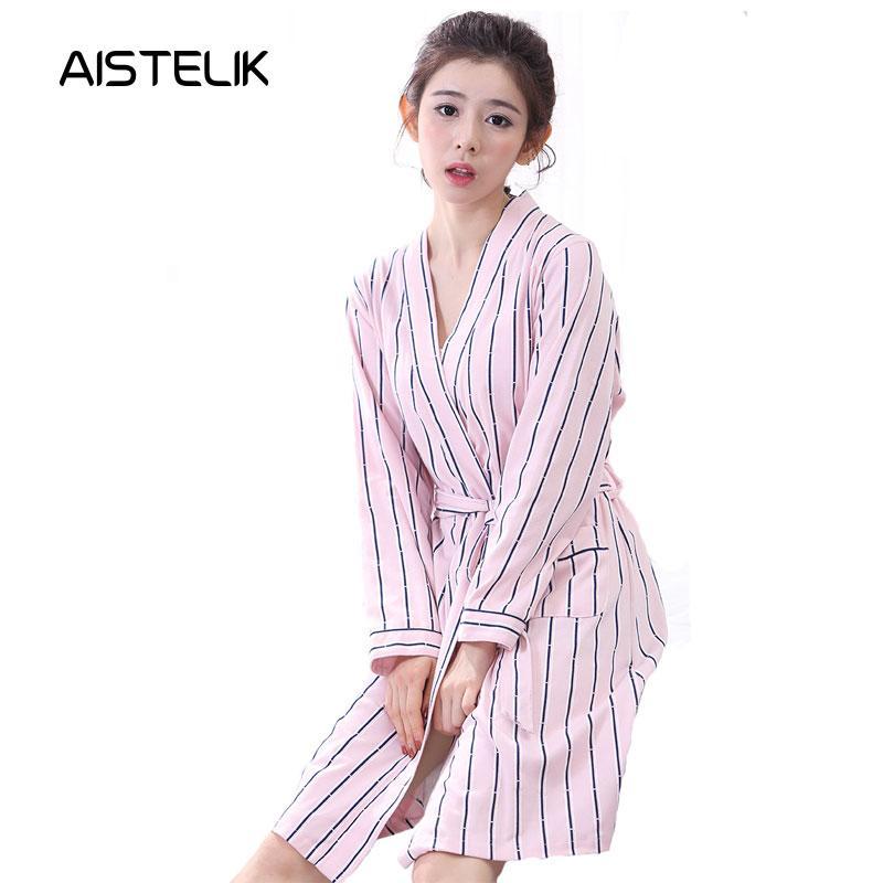 b699f9abf8b5 Camisón de algodón de manga larga pijama de algodón camisón de las mujeres  sexy diosa moda camisón de algodón rosa pequeño tamaño otoño
