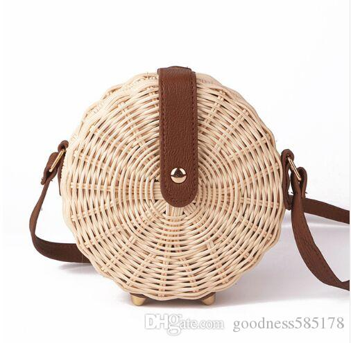 Women Straw Bag Bohemian Bali Rattan Beach Handbag Small Circle Lady