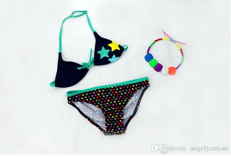 2018 New Summer Bathing Suit Girls split Two-pieces Swimwear Children Cute Star Pattern Split Bikini Girls Swimsuit Wholesale
