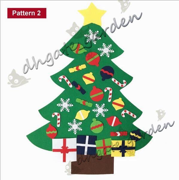 2018 NEW Kids DIY Felt Christmas Tree Set with Ornaments Children Gift Toddler Door Wall Hanging Preschool Craft Xmas Decoration