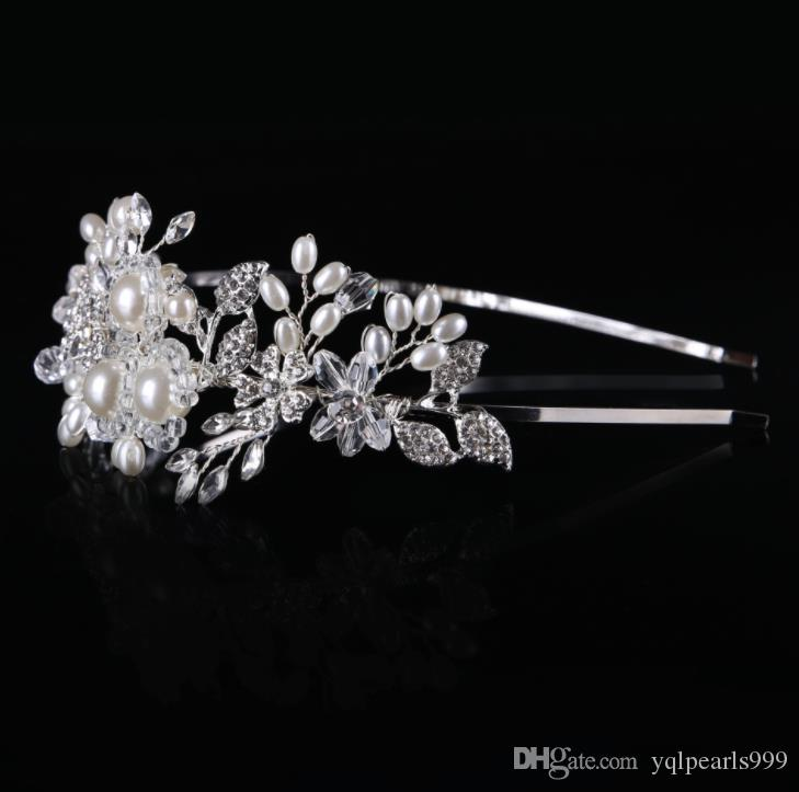 Bridal handmade pearl glass buckle stage banquet bride wedding headwear crown