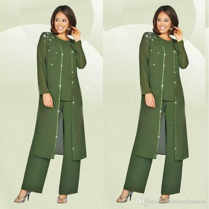 Custom Made Green Plus Size Mother Of The Bride Pants Suit With Long Jacket 2018 Mother's Groom Outfit Beads Wedding Guest Dress