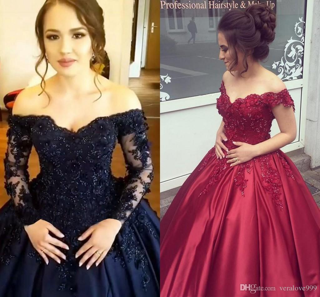 d0c403ac96f9 Off Shoulder Dark Navy Quinceanera Dresses Long Sleeves Ball Gown Prom  Dresses Satin Corset Back Purple Sweet 16 Dress Cheap Formal Dresses For  Juniors ...