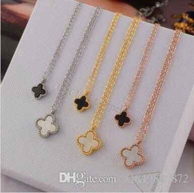 f351a3e79dce0 Wholesale four-leaf clover black and white size double-sided necklace  plated with 18K rose gold necklace female Korea colour gold short coll