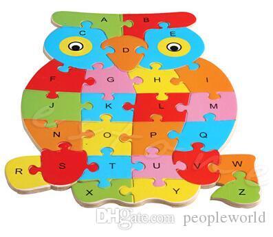 Yeni Çocuk Bebek Ahşap Hayvan Bulmaca Numaraları Alfabe Yapboz Öğrenme Eğitim Koleksiyonu Oyuncak ilginç