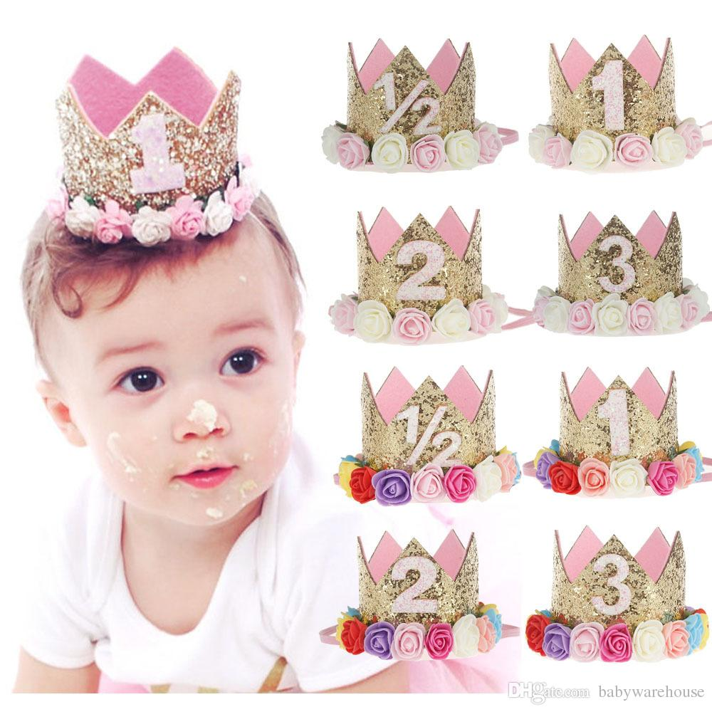 5a9e0c92dc0 Hot Baby Girl First Birthday Party Hat With Hairband Princess Queen Crown  Hair Band Elastic Head Wear Hat Birthday Gifts For Kids Headwrap Starfish  Hair ...
