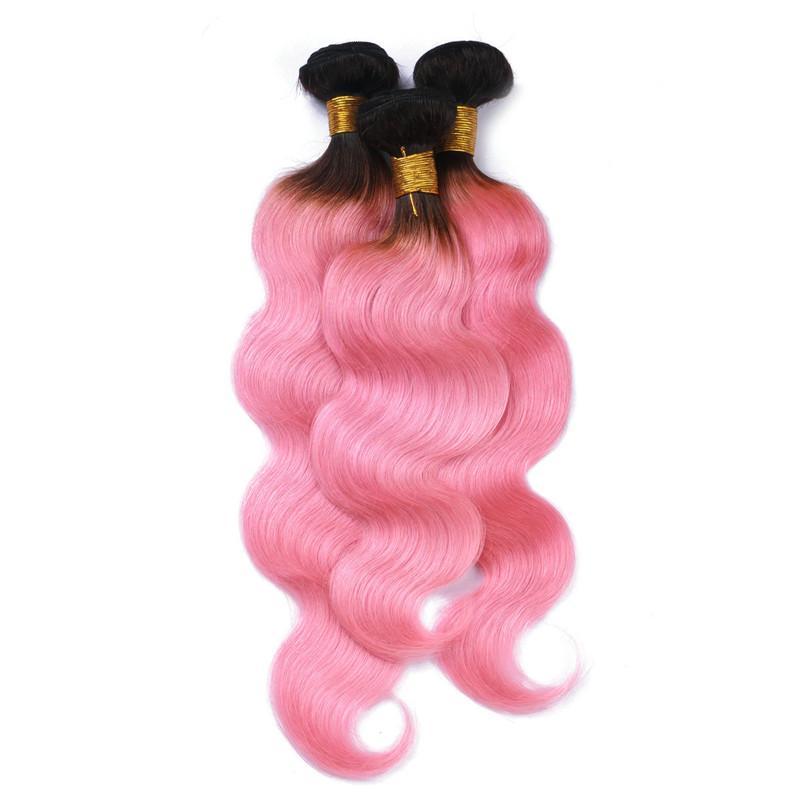 El cabello humano brasileño rosado de la Virgen Ombre teje las extensiones Dark Rooted # 1B / Pink Ombre paquetes de la onda del cuerpo del pelo humano enredan libremente