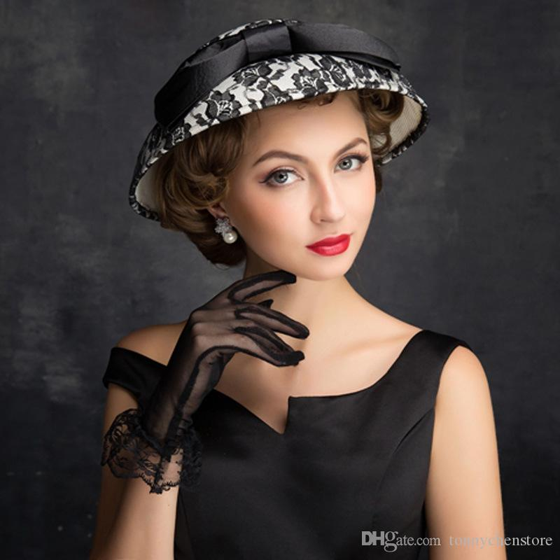 Compre Retro Negro Arco Boda Sombreros Para Mujeres Vintage Net Nupcial  Sombreros Boda Tocados Boda Novias Velo Velo Diámetro 25 Cm A  29.15 Del ... 4c5ee093e983