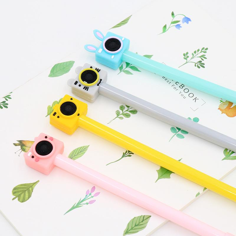 2PCS 0.5mm New Cute Color Camera Pens Gel Black Pen Writing For School Supplies Stationery Items Kawaii Pen Stationery Items