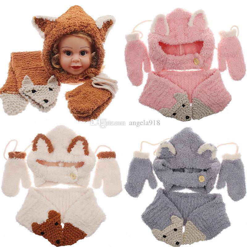 88c1f491e8e 2019 Baby Girls Boys Fox Knit Caps Scarf Gloves Set Cartoon 2018 Winter  Wool Cap INS Children Knitted Neckerchief Hat Mitten  Sets C5248 From  Angela918