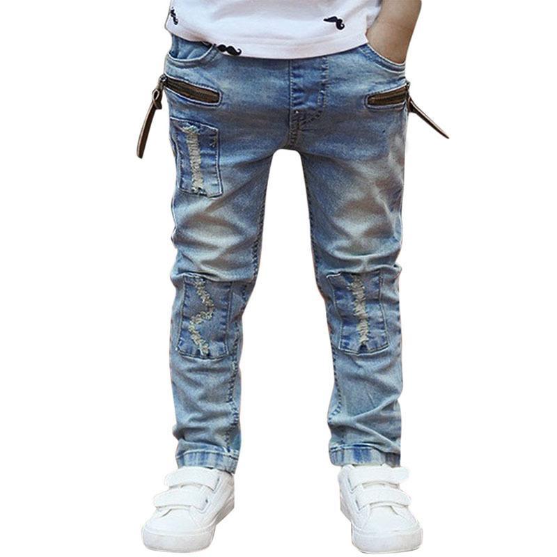 Compre Moda De Calle De Color Claro Para Niños Pantalones Vaqueros ...
